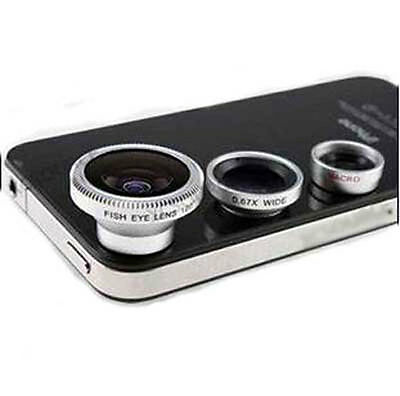 3in1 Kit Fisheye Lens Wide Angle Micro Lens for iPhone Mobile phone universal