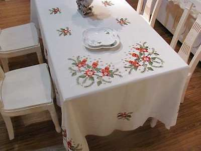 "Hand Embroidered Christmas Holiday Tablecloth 68"" X 106"""