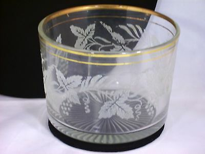 Vtg Bartlett & and Collins Glass Bowl Ice Tub Bucket Embossed Frosted Grapevine