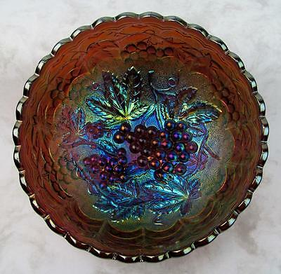 "IMPERIAL GRAPE ~ ANTIQUE UNMARKED ELECTRIC PURPLE CARNIVAL GLASS 7"" x 3"" BOWL"