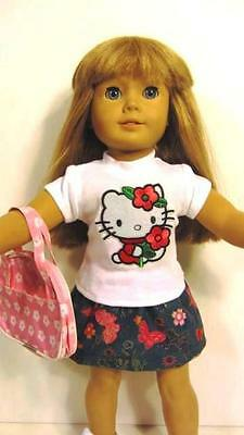 HELLO KITTY 18 Inch Doll Clothes Fits American Girl TOP, BLUE SKIRT &  BAG !
