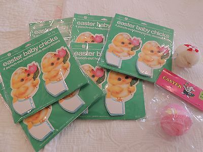 Lot of NOS Vintage Easter Baby Chicks Honeycomb Decorations Unopened Japan