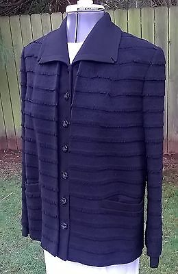 40's Seymour Fox Fringed French Angora Black Wool Button Front Jacket Small VGC