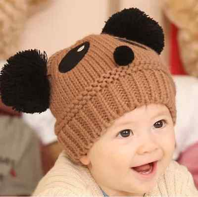 New Baby Toddler Kids Winter Warm Panda Cute Hat Wool Knitted Crochet Beanie Cap
