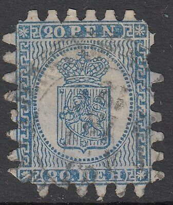 FINLAND :1866  Serpentine Roulette 20p pale blue/blue SG 35 used