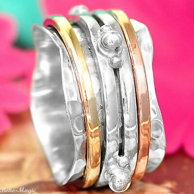 Spinner Silver 925 Ring Solid Wide Band Spin Three Tone Golden Choose Your Size
