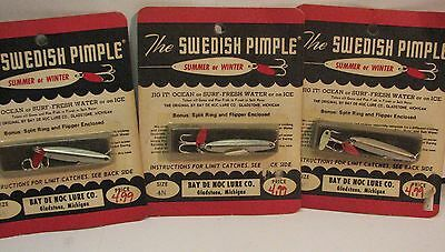 Lot of 3 Vintage New Old Stock Swedish Pimple Spoon Fishing Lures 4N