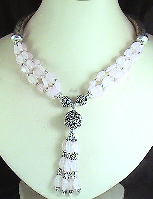 443CT DESIGNER CREATION NATURAL ROSE QUARTZ BEADS NECKLACE WITH FREE SHIPPING