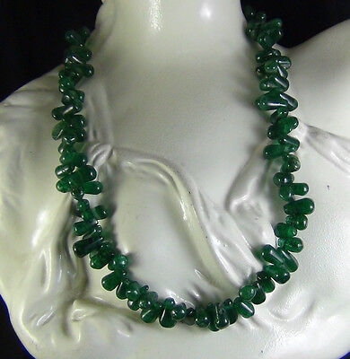 202Cts NATURAL GREEN JADE DRILLED DROP SHAPE BEADS NECKLACE