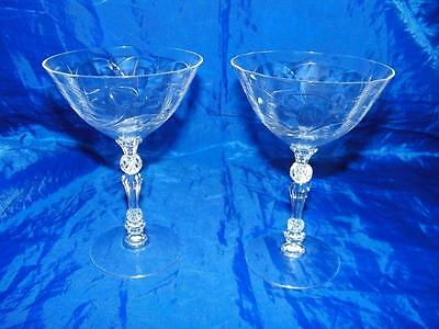 2 Vintage Fostoria Etched Mulberry Champagne Tall Sherbert Glass Clear 13448