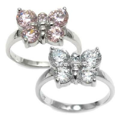 925 Sterling Silver Child's 0.70 Carat CZ Butterfly Ring Pink or White