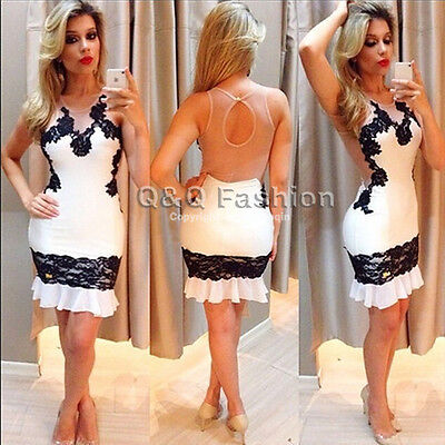 Sexy Backless White Black Lace Mini BodyCon Cocktail Evening Dress Party Club #M