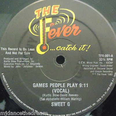 "SWEET G - Games People Play ~ 12"" Single US PRESS PROMO"
