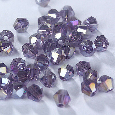 Free shipping 100pcs 3mm Austria Crystal #5301 Bicone beads Violet AB Colors