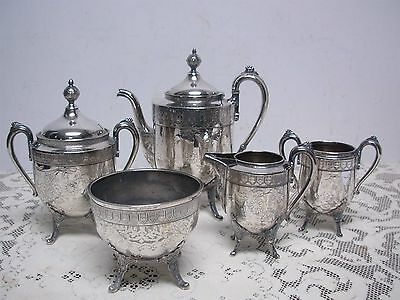 VINTAGE REED & BARTON 2974 SILVERPLATE TEA SET with ETCHED FLOWERS & BIRDS