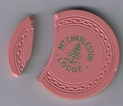Mt Charleston Lodge $25.00 Zig Zag Mold Broken Casino Chip 1946