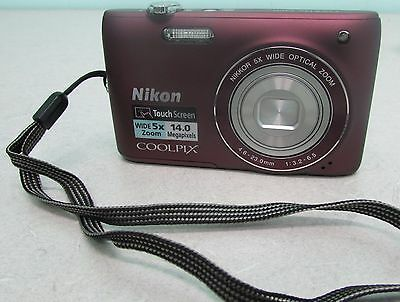 Nikon Coolpix S4100 Digital Camera 14.0 MP 5X Optical Zoom PLUM Purple