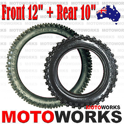 "60/100- 12"" Front 80/100 - 10"" inch Rear Back Knobby Tyre Tire PIT PRO Dirt bike"