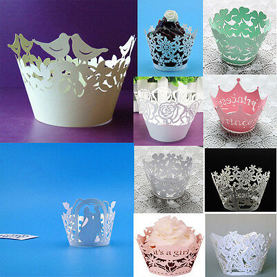 12Pcs Pearly Paper Clover Design Vine Lace Cup Cake Wrappers Table Decoration