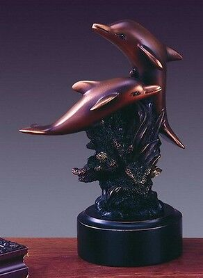 Two Dolphins 5 x 6.5 Beautiful Bronze Statue / Sculpture Brand New