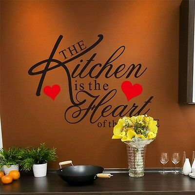 Kitchen Home Heart Removable Vinyl Wall Stickers DIY Decor Art Quote Decal Mural