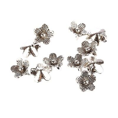 Flower Tibetan Silver Bead charms Pendants fit bracelet 10pcs 10*10mm free ship