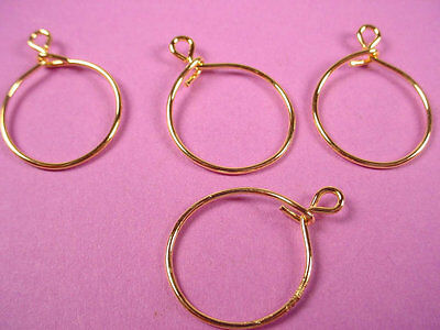 24 gold plated charm holders 20mm with loop