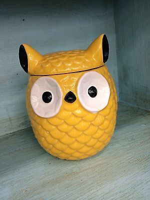 Stoneware Owl Canister Bright Yellow Vintage Style NEW