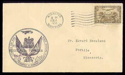 CANADA TO UNITED STATES. 1931 AIR COVER FIRST FLIGHT WINNIPEG to PEMBINA