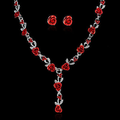 Women Rose Flower Wedding Bridal Bride Jewelry Crystal Necklace Earrings Set NEW