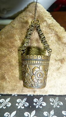 VICTORIAN ANTIQUE CHATELINE CHARM FOB  repousse bucket thimble holder