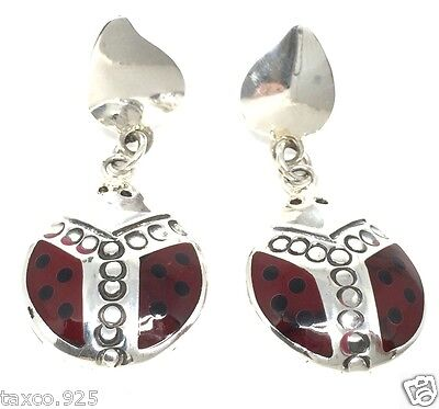 Taxco Mexican 925 Sterling Silver Red Ladybug Dangle Earrings Mexico