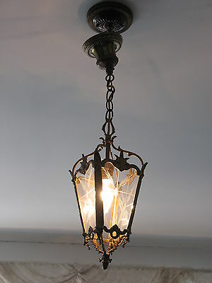 Hallway Ceiling Fixture Etched Glass Brass Frame Ready Hang Very Ornate Antique