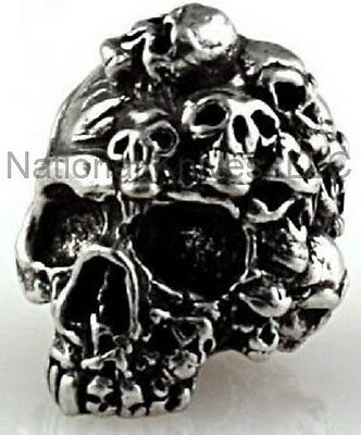"Schmuckatelli Mind Skull Bead MP, 3/16"" Hole, Pewter, Great For A Lanyard or ?"
