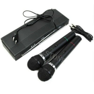 Wireless Cordless Dual 2 Mics Handheld Microphone System Professional Receiver