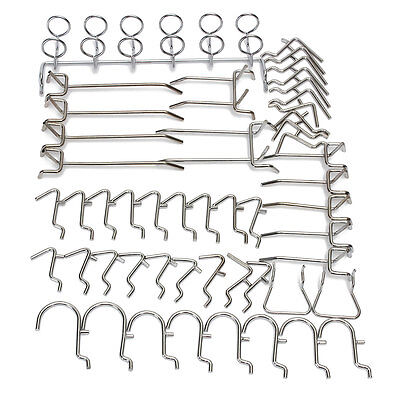 50Pcs Metal Grid Wall Pegboard Peg Hook Assortment Kit Storage Display Hangers