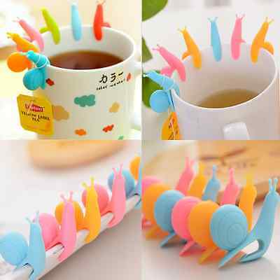 Lots 5pcs Cute Snail Shape Silicone Tea Bag Holder Cup Mug Candy Random Colors