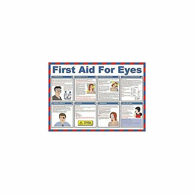 1 X Safety First Aid For Eyes Poster 59cm x 42cm Helps Prevent Work Accidents