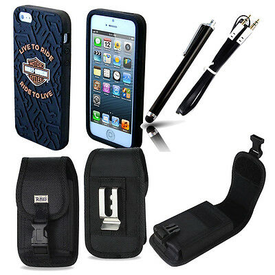 Harley Davidson Cover 7610 for iPhone 5s with Nylon Locking Riding Case, Auxsty