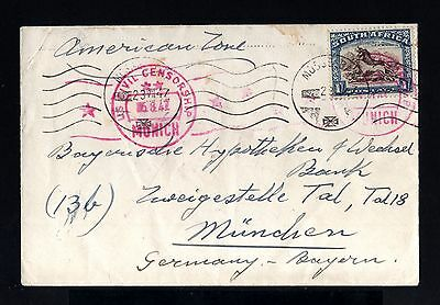 1749-SOUTH AFRICA-CENSORSHIP COVER MOSSEBAN to MUNCHEN (germany) 1947.WWII.