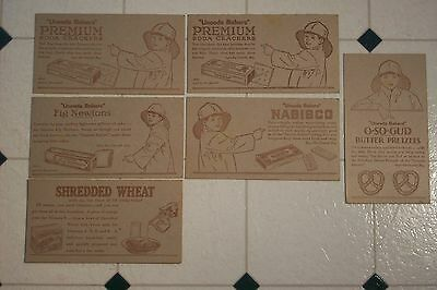 Early 1900's Nabisco Uneeda Advertising Cards  Biscuit Pretzel Shredded Wheat