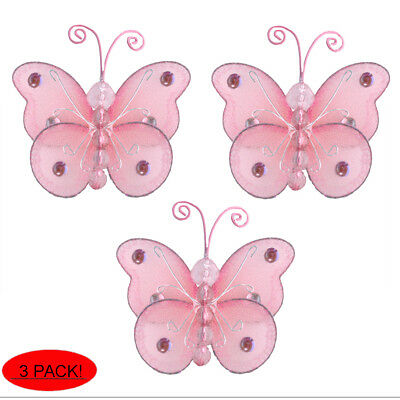 Mini Butterflies Small Pink Wire Hanging Nylon Butterfly Decor Bedroom Wall 3""