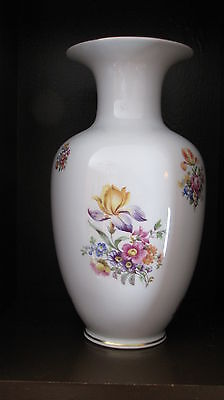 Flawless REICHENBACH White Porcelain Vase Floral and Gold Accents