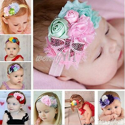 8PCs Girls Baby Headband Toddler Bow Flower Hair Band Accessories Xmas Headwear