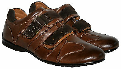Mens Brown Touch Close Strap Smart/casual Shoe In Size 6.5/40