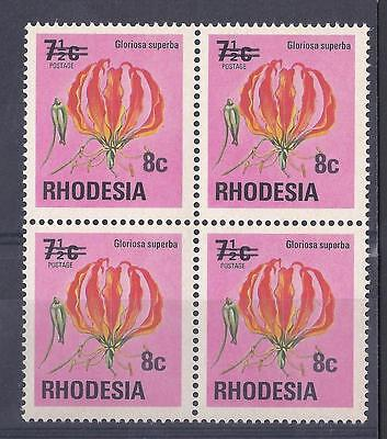RHODESIA, 1976 DEFINS, 8c ON 7 1/2c, FLAME LILY SG 526, MNH BLOCK 4