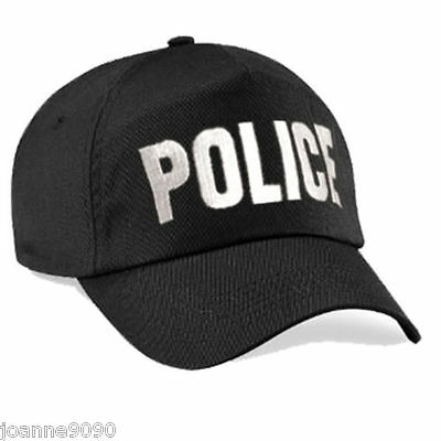 Adult Mens Black Embroidered Police Baseball Cap Swat Fancy Dress Costume Hat