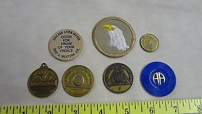 Lot of 7  AA tokens Wood Nickle and Patch Eagle Nice Vintage lot