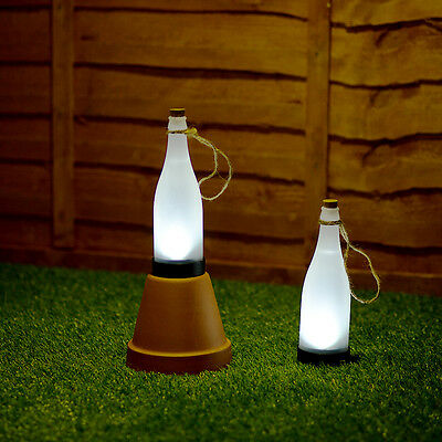 2 x Solar Powered Frosted Plastic Bottle Garden Lights Outdoor Lighting Lamps