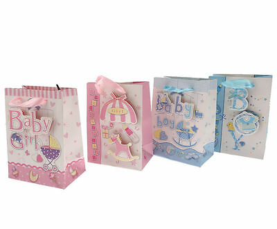 4pcs 15*11cm Baby Boy Girl Blue Pink 3D Sparkle Baby Shower Party Paper Gift Bag
